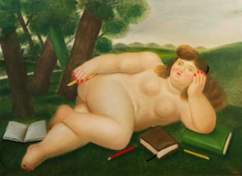 FERNANDO BOTERO - RECLINING NUDE WITH BOOKS AND PENCILS ON LAWN