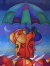 RAOUL GILLES - Abstract head under the umbrella
