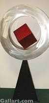 STEVE ZALUSKI - SILVER RING WITH RED CUBE