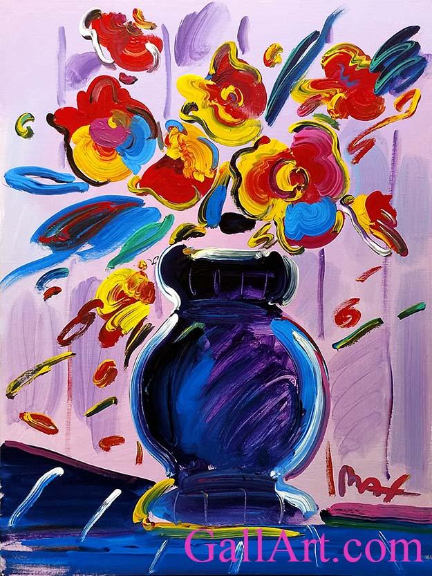 Peter Max Vase Of Flowers Series 2000 Original Painting 48 X